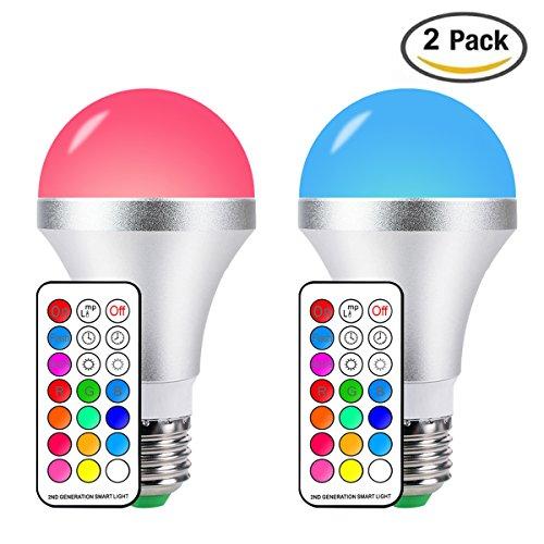 LED RGBW Lampe mit Fernbedienung, 85-265V 10W E27 Base Dimmbare Birne mit RGB und Kaltweißem Licht, RGB + Weiß (2 Stück) (Lampe Speicher)