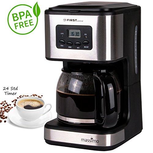 Cafetera de filtro programable para 12 tazas, con temporizador de 24 horas.