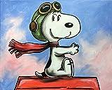 Original Gemälde Acrylfarben auf Leinwand und Keilrahmen: Peanuts Snoopy Red Baron / 40x50 cm