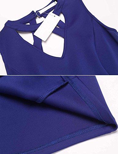 Meaneor Rückenausschnitt Figurbetontes Kleid Ärmellos Neckholder Etuikleid Bodycon Cocktailkleid Partykleid Königsblau