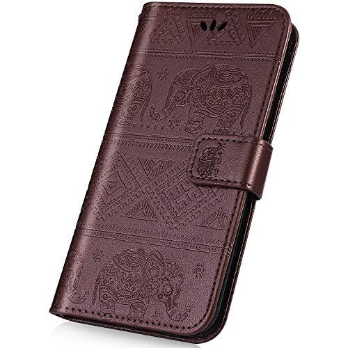 kompatibel mit Nokia 2.1 2018 Hülle,PU Leder Wallet Tasche Brieftasche Schutzhülle Elefant Muster Handytasche Flip Hülle Ledertasche Kunstleder Tasche Cover für Nokia 2.1 2018,Braun