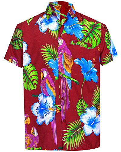 *La Leela* Shirt Camicia Hawaiana Uomo XS - 5XL Manica Corta Hawaii Tasca-Frontale Stampa Hawaiano Casuale Regular Fit Marrone1888 XS