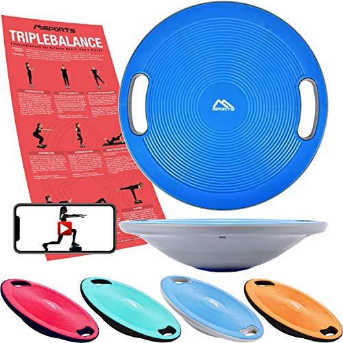 MSPORTS Balance Board Premium 40 cm Durchmesser inkl. Übungsposter und Work Out App GRATIS - Therapiekreisel Physiotherapie Wackelbrett (Blue)