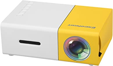 Excelvan Mini Projector, YG300 Portable LED Projector Support PC Laptop USB Stick USB/SD/AV/HDMI Input for Video/Movie/Game/Home Theater Video Projector- Yellow
