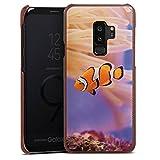 DeinDesign Samsung Galaxy S9 Plus Lederhülle braun Leder Case Leder Handyhülle Anemonenfisch Clownfisch Nemo Fisch