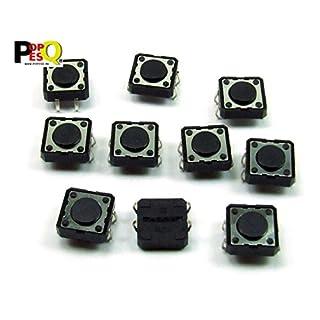 POPESQ® - 10 Stk. x Taster (12mm x 12mm) 4.3mm 4 polig THT Rundkopf / 10 pcs. x Momentary switch (12mm x 12mm) 4.3mm 4 way THT Roundhead #A2098