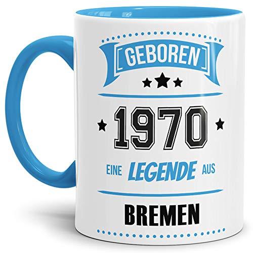 Tassendruck Geburtstags-Tasse Geboren 1970 Eine Legende aus Bremen Innen & Henkel Hellblau/Geschenk/mit Spruch/Mug/Cup/Becher/Qualität Made in Germany