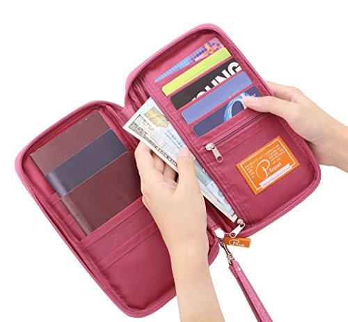 Reisepasshüllen Mappe Reise-Dokumente Tasche Reisepass Kreditkarten-Halter Damen und Herren mit Reißverschluss Geldbörse Etui Ticket Grün
