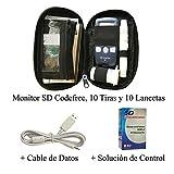 SD Codefree - Estuche que contiene Monitor de Glucosa, 10 Tiras y 10 Lancetas - Más Cable para Uso del Software Gratuito SD y Solución de Control para Calibrar el Monitor
