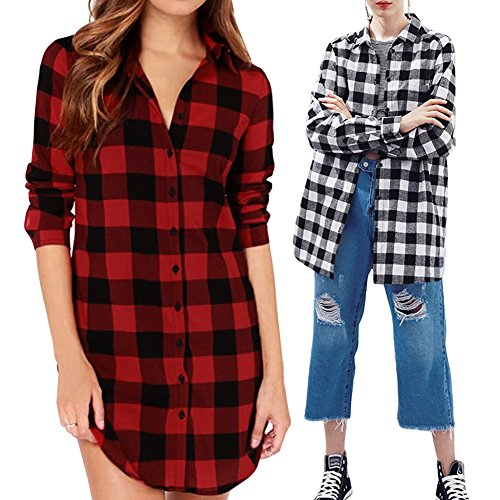 Romacci Damen Baumwoll Hemd Karierte Bluse Langarm Oversize Longshirt Cardigan Top Schwarzes/Rot S-5XL Schwarzes