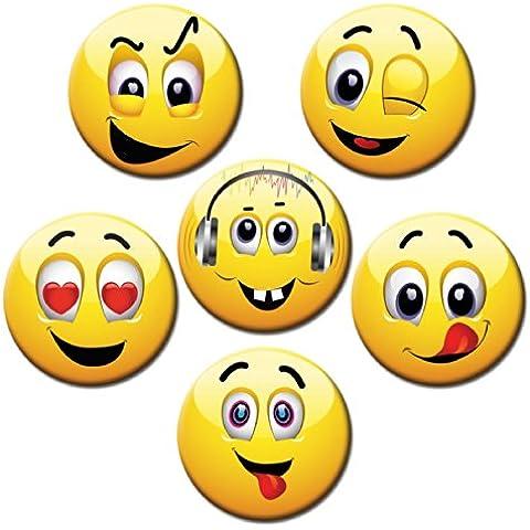 Imanes de cara sonriente - Ø 5 cm - juego de 6 imanes para frigorífico con diseño de libélula:
