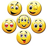 Kühlschrankmagnete Smiley Magnete für Magnettafel Kinder stark Emoji lustig 6er Set groß rund 50mm mit Motiv Happy Faces