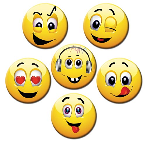 Magnete Smiley für Glasmagnettafel Extra Stark Motiv Emoji Lustig 6er Set Gross Rund 50mm Comic...