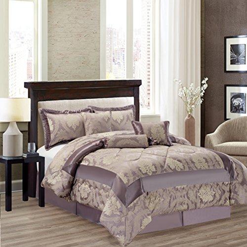 Jacquard 7Stück Luxuriöse Tagesdecke Tröster Set Bettwäsche + passender Kissenbezug, Betty L. Gray, Doppelbett (Violett Tröster Set)