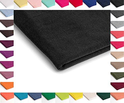 Strickwaren Polyspun, Glatt Viskose - Erhältlich in verschiedenen Farben - 50 x 160 cm (Schwarz Nr.9)