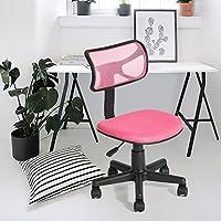 Office Chair Fanilife Adjustable Mesh Design Kids Computer Seat Desk Task Chair Swivel Armless Children Study Chair Pink