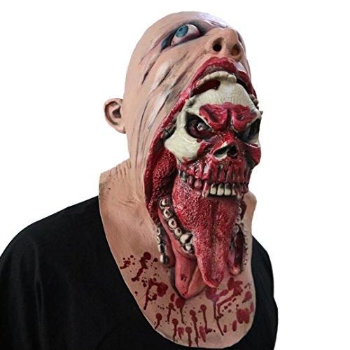 Omiky® Blutige Zombie Maske Schmelzendes Gesicht Erwachsene Latex Kostüm Walking Dead Halloween Scary (Gelb) (Walking Dead Kostüme Für Paare)