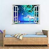 TTbaoz Adesivi murali finestra finta cavallo unicorno per la decorazione della camera dei bambini animali 3D arte murale fai da te cartone animato fai da te scenario casa decalcomanie 50X70 cm