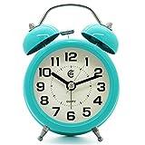 Reloj despertador JCC retro de 7 cm, analógico, con agujas silenciosas, mecanismo de cuarzo, luz nocturna y alarma sonora, metal, Turquesa, 3 inch Clock Dial