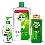 Dettol Original Liquid Handwash Refill Jar, 900ML + Dettol Original Instant Hand Sanitizer, 200ML + Dettol Daily Clean Gold Body Wash Shower Gel, 250 ML