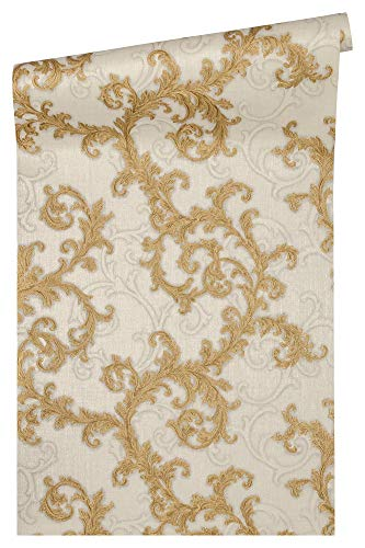 Barocke Roll (Versace wallpaper Vliestapete Baroque & Roll Luxustapete mit Ornamenten barock 10,05 m x 0,70 m grau metallic weiß Made in Germany 962314 96231-4)