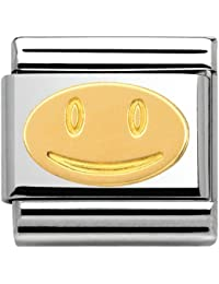 Nomination Mujer de Charm Composable FUN 18K de oro Smiley Acero Inoxidable teilvergoldet–030161/01