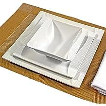 Elly 28 Tlg Geschirr Teller Set Für 6 Personen Tafelservice Porzellan Eckig