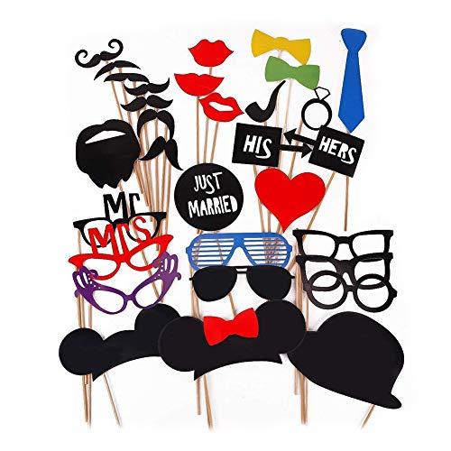 ZYCX123 Funny Photo Booth Props Chic Weihnachts-Abschluss-Party-Masken-DIY Foto Props Schnurrbart Gläser Mund Herz 1set hohe Qualität