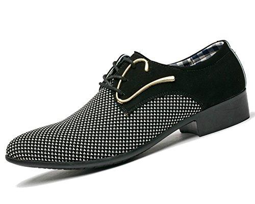 Tessuto in tela da uomo per affari/scarpe in pelle artificiale pu scarpe da cerimonia formali per matrimoni a festa taglia cn 45/46/47/48 colori classici marrone nero bianco(cn 46,d-nero)