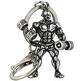 3D Bodybuilder Starker Mann mit Hantel Schlüsselanhänger Bodybuilding elegant silber glänzend Strong Man