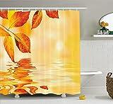 JIEKEIO Orange Shower Curtain, Autumn Maple Leaves Shadow on The Water Mystic Magical Sun Artistic Image, Fabric Bathroom Decor Set with Hooks, 60 * 72inch Extra Long, Earth Yellow Orange