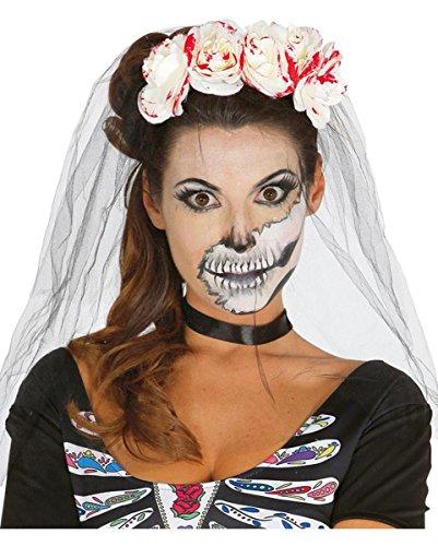 Bella Muerte Haarschmuck mit weißen Rosen im blutigen Zombie Look