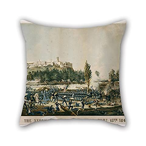 Beautifulseason Peinture à l'huile Sarony principaux–La prise de Chapultepec Sept. 13e 1847Taie d'oreiller 45,7x 45,7cm/45, 45cm de cadeau ou décoration pour bar, BF, chambre à coucher, chambre à coucher, salle d'étude, une salle de dessin -