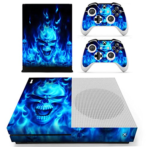 dotbuy Xbox One S Vinly Protective Skin Sticker Konsole + 2 Controller Decal + Kinect 2.0 Kamera Sticker Blue Fire Skull