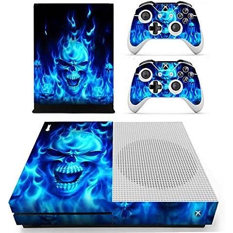 DOTBUY Xbox One S Vinly Protective Skin Sticker Consola + 2 mandos Decal + cámara Kinect 2.0 Pegatinas (Blue Fire