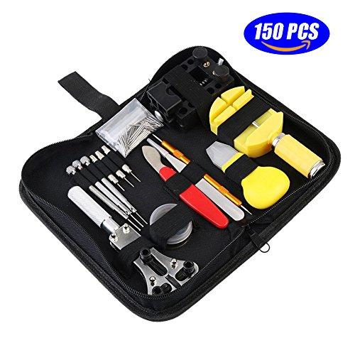 Watch Repair Kit Profi Set - 150pcs Spring Bar Tool Set Uhrenarmband Link Pin Tool Set Uhrengehäuse Opener Watch Zurück Entfernen Tool mit Tragetasche (Watch Bands Ersatz Seiko)