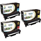 CatchSupplies reemplazo HP 305A cartucho de tóner de color paquete 3 set | Cian CE411A, CE412A Amarillo, Magenta CE413A | compatible con la impresora HP LaserJet Pro M351a, M375nw, M451, M475