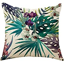 outflower hojas tropicales plantas flores y pájaros funda de cojín impresos/dormitorio/salón/oficina/coche/Sofá 45* 45cm  C