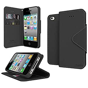 GPL Cellto Apple iPhone 4 iPhone 4S Premium Wallet Case [Dual Magnetic Flap] Diary Cover High Quality PU EPI Leather + Life Time Warranty - Black