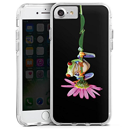 Apple iPhone 7 Bumper Hülle Bumper Case Glitzer Hülle Frosch Flower Blume Bumper Case transparent