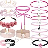 Tpocean 14-Pieces Mothers Day Adjustable Lace Velvet Choker Necklace Set with Charms Pendant Flower (Pink, HY5073)