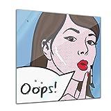Memoboard 40 x 40 cm, Männermotive - Pop Art Oops Frau - Glasboard Glastafel Magnettafel Memotafel Pinnwand Schreibtafel - Frau - Kunst - Stil - Retro - abstrakte Kunst - Comic - Comic style - Wohnzimmer - Schlafzimmer - Küche - Esszimmer - Bild auf Glas - Glasbild - Handmade - Design - Art