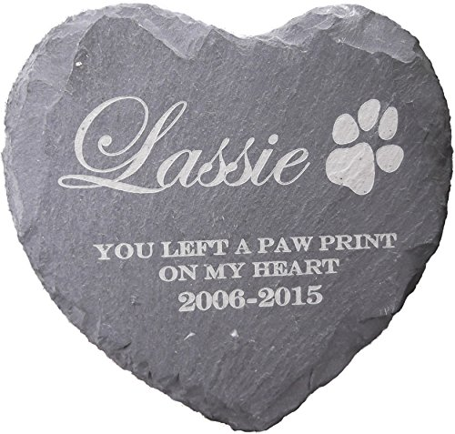 Memorial Plaque Personalised Engraved Natural Slate Heart Shape Pet Grave Marker 2