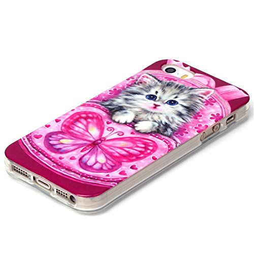 iPhone 5S Coque, iPhone 5 Coque, Lifeturt [ Big bouche chat ] Housse Anti-dérapante Absorbant Chocs Protection Etui Silicone Gel TPU Bumper Case pour Apple iPhone 5 / 5S E02-Cat papillon733