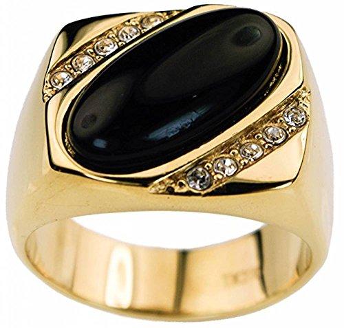 ISADY - Tristan - Herren-Ring - 585er 14K Gold platiert - Zirkonium und Agate schwarz Halbedelstein - T 58 (18.5) (Schmuck Gold Ringe 14k)