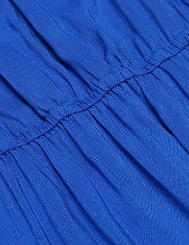Beyove Damen Schulterfrei Kleider A Linie Kleid Mit Elastisch Bund Größe 36-42 Dunkelblau