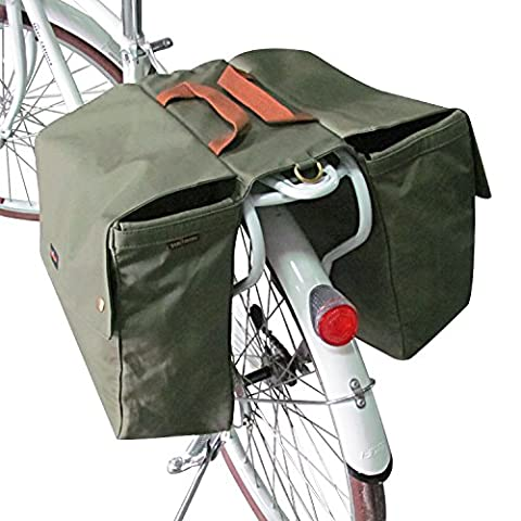 Tourbon Waterproof Canvas Bicycle Bike Rear Seat Carrier Luggage Storage Bag Cycling Double Roll-up Pannier Bag Rear Pack - Green