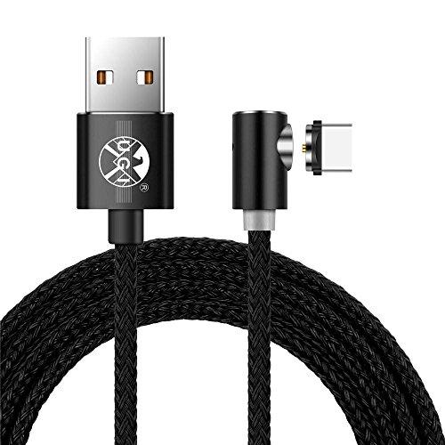USB-Typ-C-Kabel, 2M Geflochten 90 Grad magnetischen USB-C-Ladekabel USB-C auf USB 2.0 Ladekabel Keine Sync-Daten für Samsung Galaxy S8 +, Nintendo-Schalter, Nexus 5X/6P, HTC 10/U11, Huawei P9/10 -
