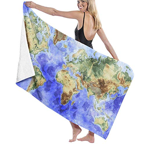 fgregtrg Beach Towels Decor Polyester Fiber World Map Ocean Sea Blue Bath Towels Oversized Soft, High Absorbent, Eco-Friendly Printed Bath Towel,Quick Dry 31.5\