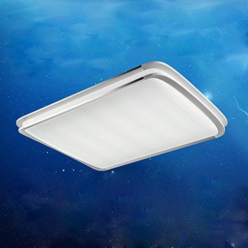 GBT Moderne Minimaliste LED Plafonnier Salon Lampe Salle à Manger Éclairage Chambre Chambre Rectangulaire Maison,Blanc,90cm de Long et 66cm de Long